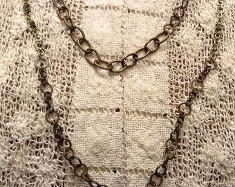 Antique Gold Chain Lanyard with Pewter Gray Links