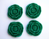 48mm Dark Green Rose Flower Chunky Necklace Beads 4 ct