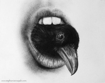 Limited Edition Fine Art Print: Mouth Studies- Crow