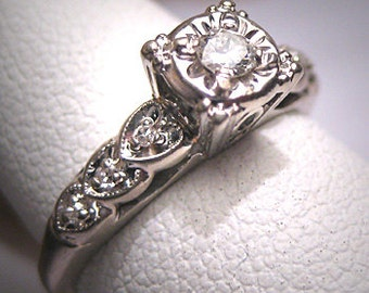 Antique Diamond Wedding Ring Vintage Art Deco W. Gold