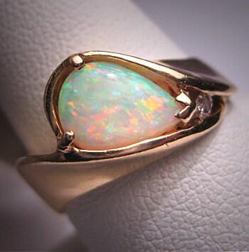 vintage australian opal ring estate wedding 14k
