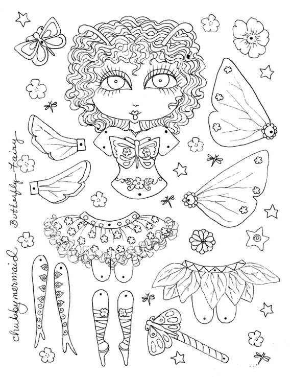 instant download butterfly fairy paper doll. Black Bedroom Furniture Sets. Home Design Ideas