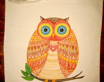 OWL Natural Cotton Canvas Tote Bag