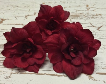 Artificial Flowers - Three Delphinium Blossoms in Red - 3 Inch Size Silk Flowers