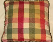 Country French Cottage Pillow Provence Check Yellow Red Green Cream Plaid Moire