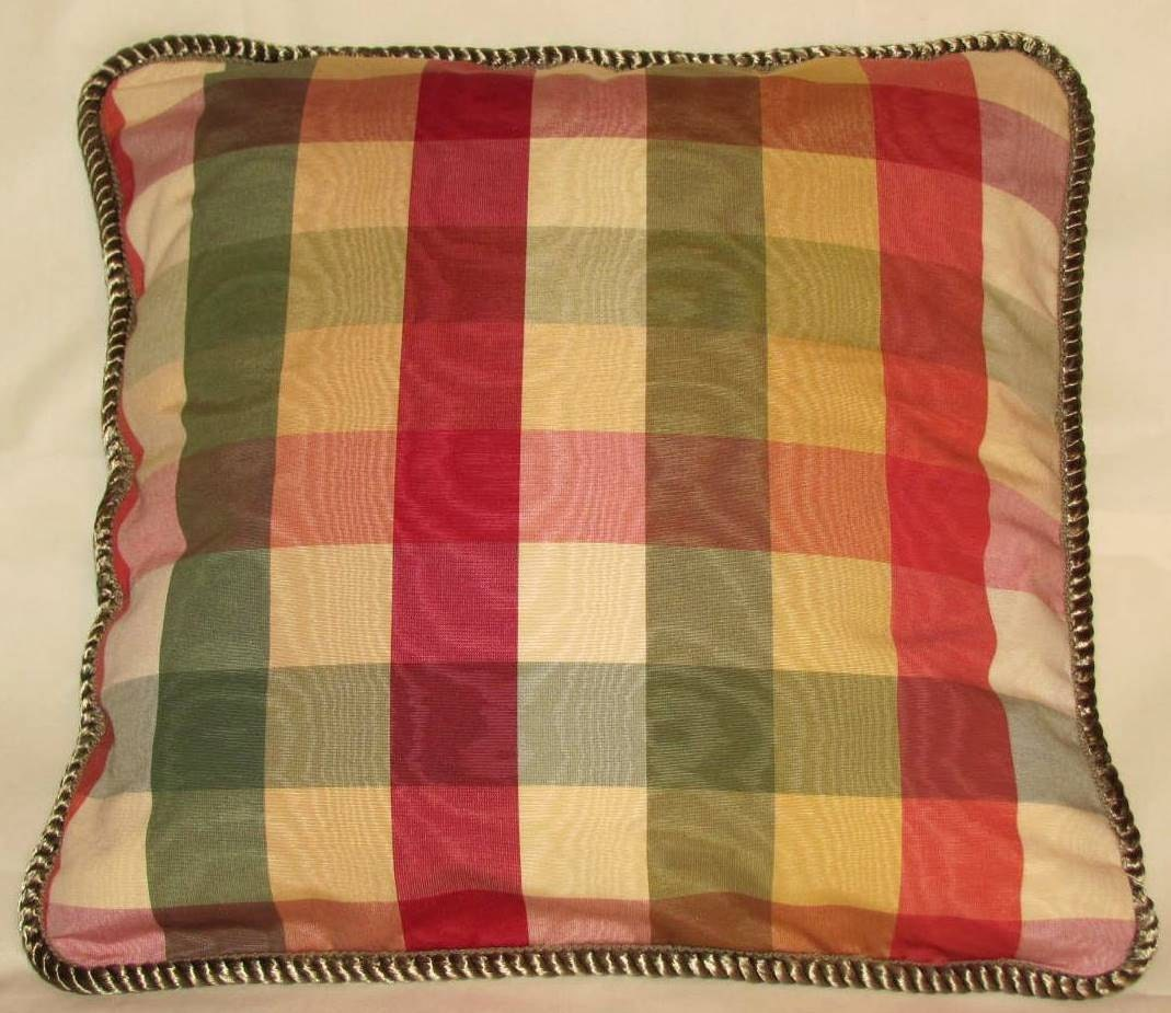 Country French Cottage Pillow Provence Check Yellow Red Green