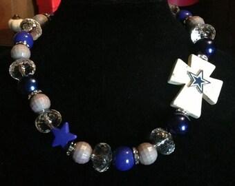 Dallas Cowboys Side Cross Beaded Necklace