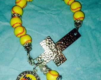 Softball Cross Bracelet