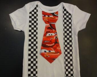 Disney Cars Inspired Iron On Tie with Suspenders Applique Lightning McQueen