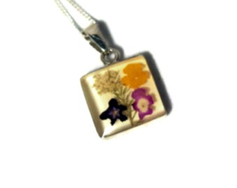 Dried Miniature Flower Pendant with Sterling Chain