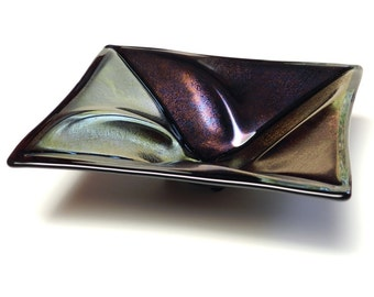 Glass Candy Dish, Iridescent Purple & Gold on Black, Unique Shape and Form