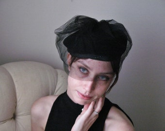 Black Satin & Velvet  Le Charme Creations Hat