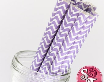 Chevron Zigzag Light Purple Party Paper Straws - Cake Pop Sticks - Pixie Sticks - Qty 25