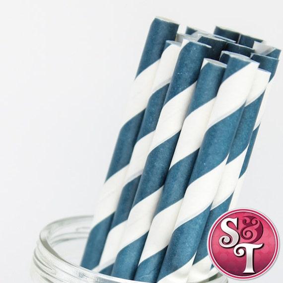 Stripe Navy Blue Party Paper Straws - Cake Pop Sticks - Pixie Sticks - Qty 25