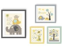 Baby Room Decor, Nursery Art baby boy, safari, abc, PBK,set 1 11x14 and 3 8x10, yellow, teal, gray, baby elephant, baby tree, first we had
