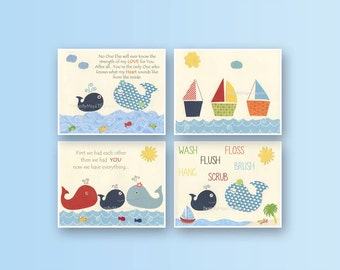 Bathroom print for kids, Nursery wall art, Bathroom decor kids, Jackson, Nursery Decor, set of 4 8x10, baby nursery whale, nautical print