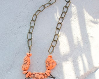 Rocca Tangerine Beaded Necklace with Chain Fringe