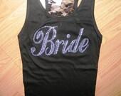 Bride half lace rhinestone Tank Top Shirts. Bride's Entourage Lace tank top. Bridal Party. Bride To Be. Bachelorette party tanks.