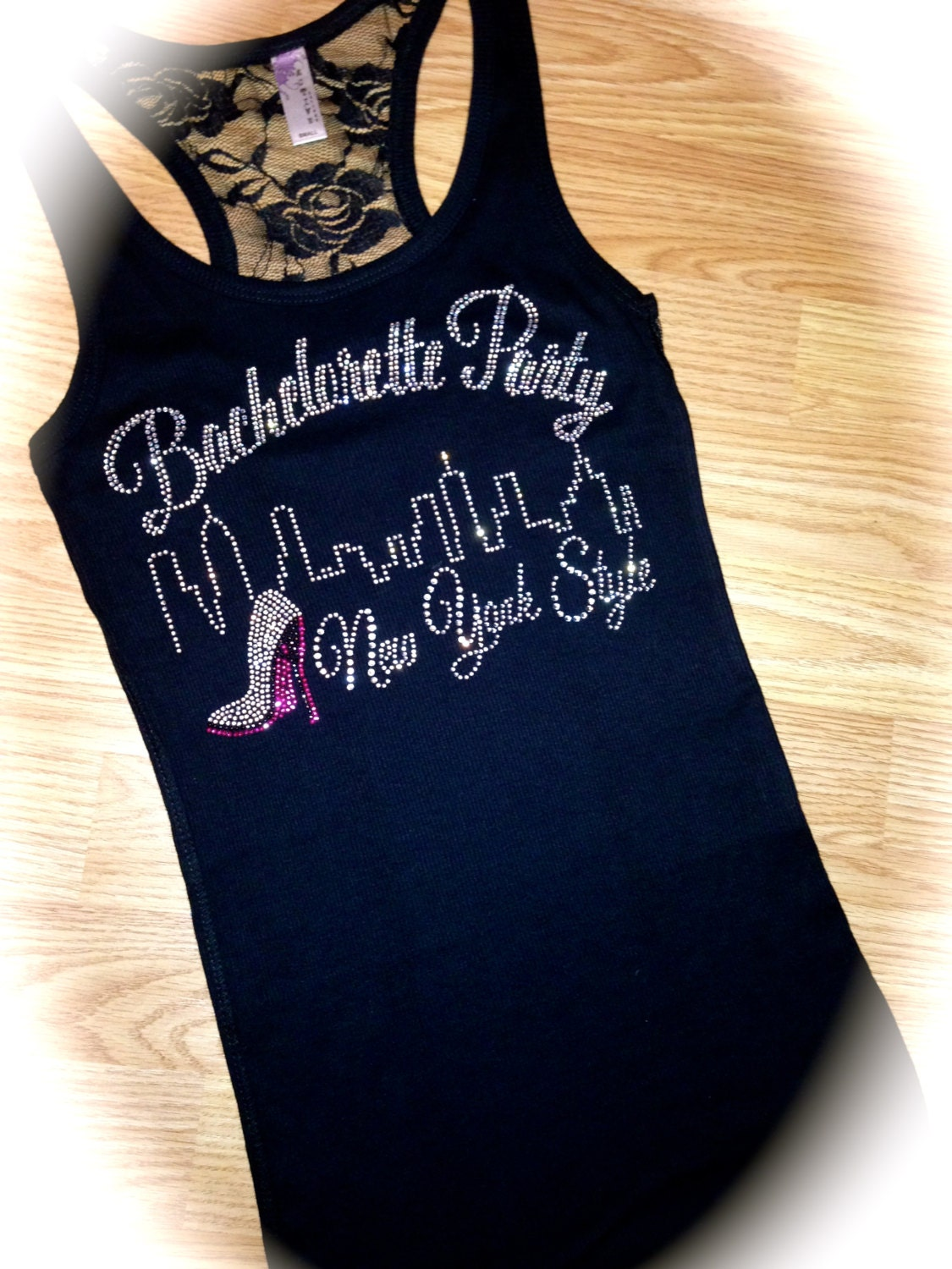 new york bachelorette party bling tank tops lace bridesmaid. Black Bedroom Furniture Sets. Home Design Ideas