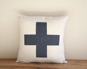 "charcoal swiss cross throw pillow cover, 16"" x 16"", natural farmhouse cabin style, rustic, dorm home fall decor"