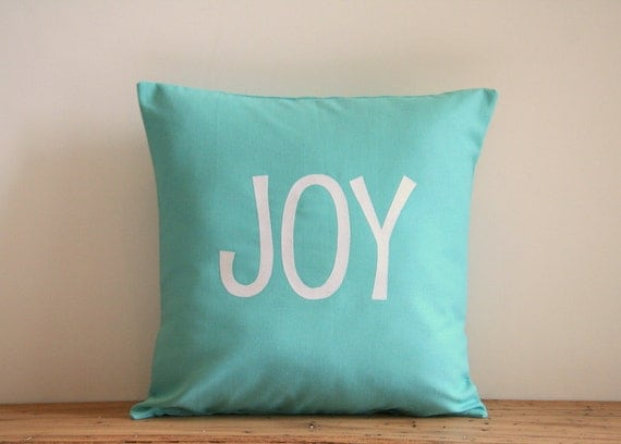 Joy Throw Pillow : Items similar to Joy Christmas throw pillow cover / appliqued / tiffany blue teal white / 16