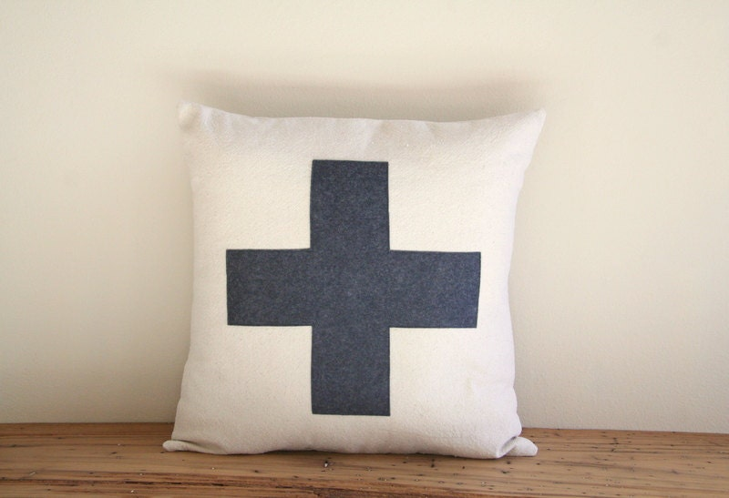 charcoal swiss cross throw pillow cover 16 x 16