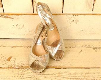 80s metallic silver leather vintage sling back high heel shoes
