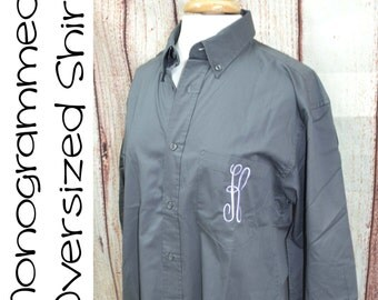 Set of eleven monogrammed, getting ready, oversized shirts