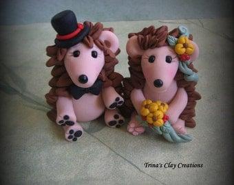 Wedding Cake Topper, Custom Cake Topper, Hedgehog Cake Topper, Hedgehog, Personalized, Polymer Clay, Bride and Groom