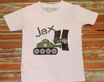 Birthday Army Tank Theme Appliqued Shirt