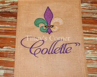 Appliqued Mardi Gras Fleur de lis Garden Flag with Last Name