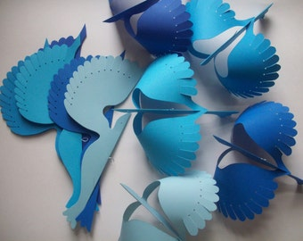 Paper Birds--Five Hanging Paper Birds in Mixed Blues