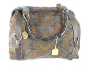 Carpet bag - blue floral chenille - Victorian Steampunk - 6 pockets
