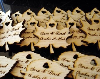 110 Wood Leaf Wedding Favors Personalized