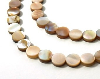 8mm shell beads, natural brown lip shell, full bead strand (793H)