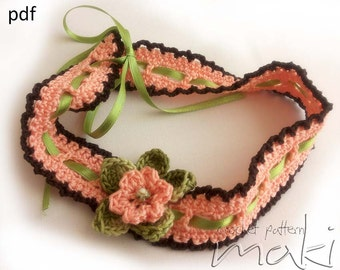 Baby crochet headband pattern - Full of large pictures! Permission to sell finished items. Pattern No. 108