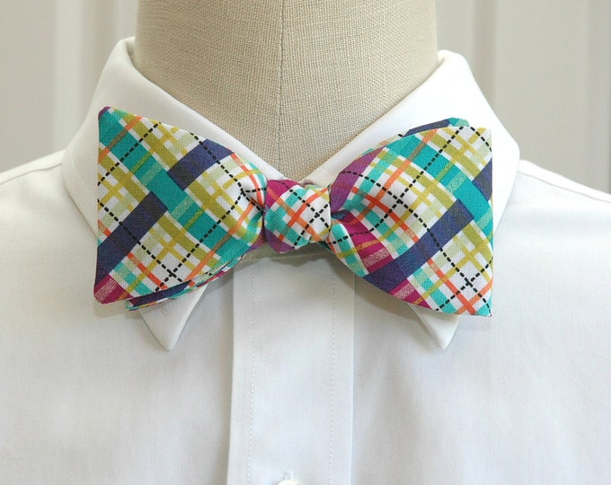 Men's Bow Tie, jewel tones plaid bow tie, wedding bow tie, groom bow tie, groomsmen gift, prom bow tie, blue, green, purple plaid bow tie