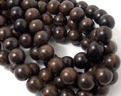 Tiger Ebony, Round, 14mm-15mm, Large, Smooth, Natural Wood Beads, Full Strand, 28-30pcs - ID 1551