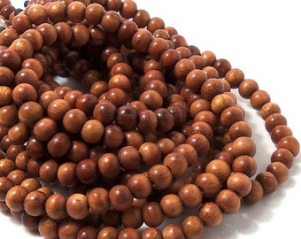 Bayong Wood,  Round, 6mm, Smooth, Small, Natural Wood Beads, Full 16 Inch Strand - ID 1033