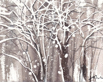 Small format No.15 - Winter tree 2 of 4 - limited edition of 50 fine art giclee prints from my original watercolor
