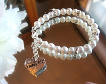 Custom Flower Girl Pearl and Swarovski Rhinestone Charm Bracelet - Flower Girl Jewelry/Wedding Jewelry/Girls Pearl Bracelet