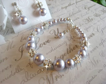 Swarovski Rhinestone and Lavender  Pearl Bracelet and Earring Set  -  Brides or Bridesmaid Jewelry Set/Bridal Wedding Jewelry/Choose Color