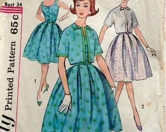 60s Simplicity 3924 Sleeveless Full Skirt Dress with Short Jacket Size 14 Bust 34