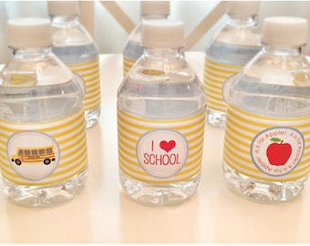INSTANT Download-Back to School Water Bottle Labels -Printable PDF
