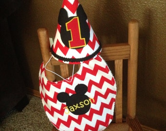 Chevron Mickey Mouse Birthday Hat and personalized Bib- customize Your Birthday