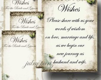 SET of Wedding Wish Sign and Tags, Wish Tree Cards, Printable, DIY Weddings, Bridal Shower, Wedding Shower, Wedding Decoration