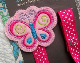 Pacifier Clip, Butterfly, Girl Pacifier Clip, Pacifier Holder, Binky Clip, Baby Gift, Paci Clip, Universal Pacifier, pcbutterfly01