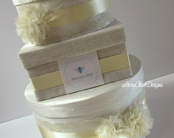 Rustic Wedding Card Box Burlap and Lace Money Card Holder Custom Made
