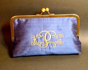 Bridal Clutch or Bridesmaids Clutch Dupioni Silk Monogrammed Clutch CUSTOMIZE