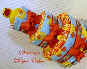 Rubber Ducks Baby Diaper Cake Shower Gift Centerpiece SELECT RIBBON COLOR